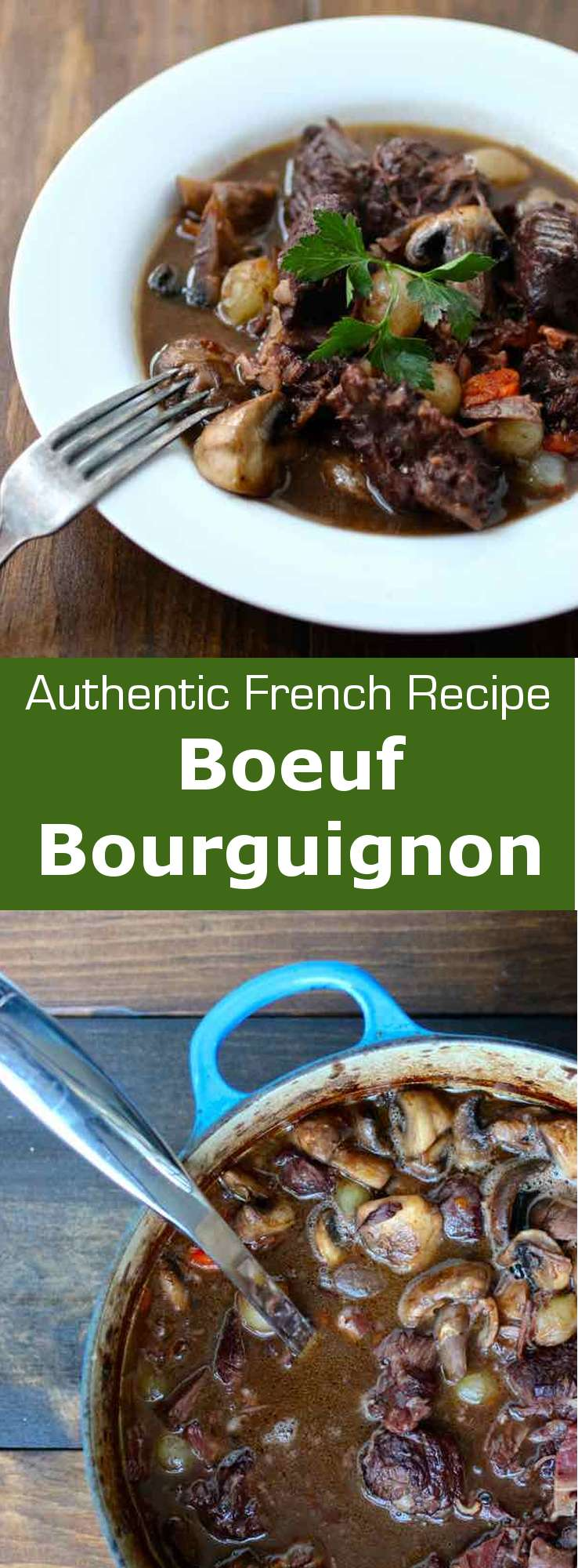 Beef Burgundy (Boeuf Bourguignon) is a traditional French stew simmered in red wine and typically served with potatoes. #FrenchCuisine #France #196flavors
