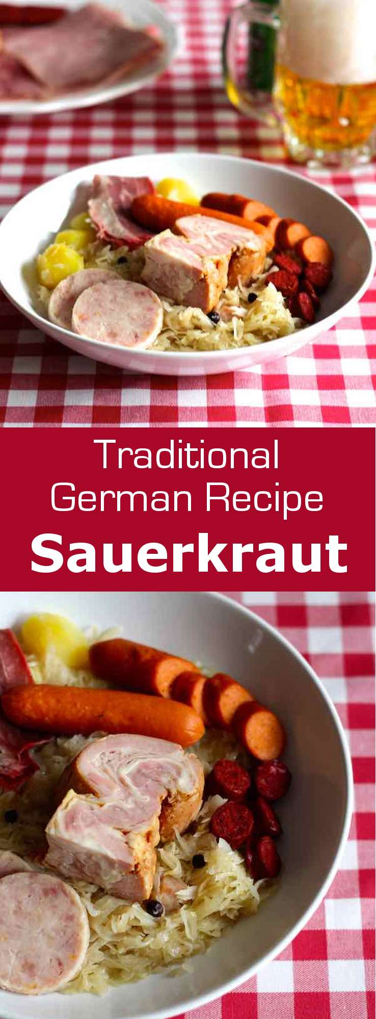 Sauerkraut is a traditional German and Alsatian recipe of brined cabbage served with sausages, deli meats and potatoes. #German #Alsatian #pork #worldcusine #196flavors