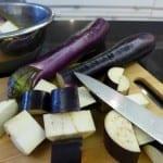 cut aubergines