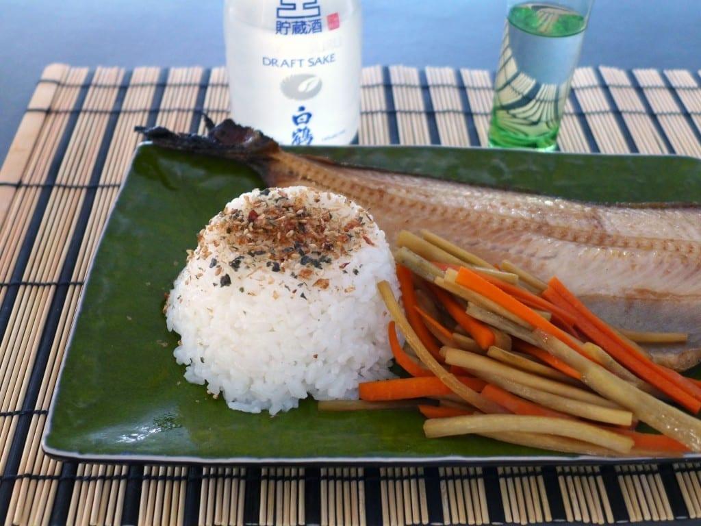 kinpira gobo rice mackerel sake