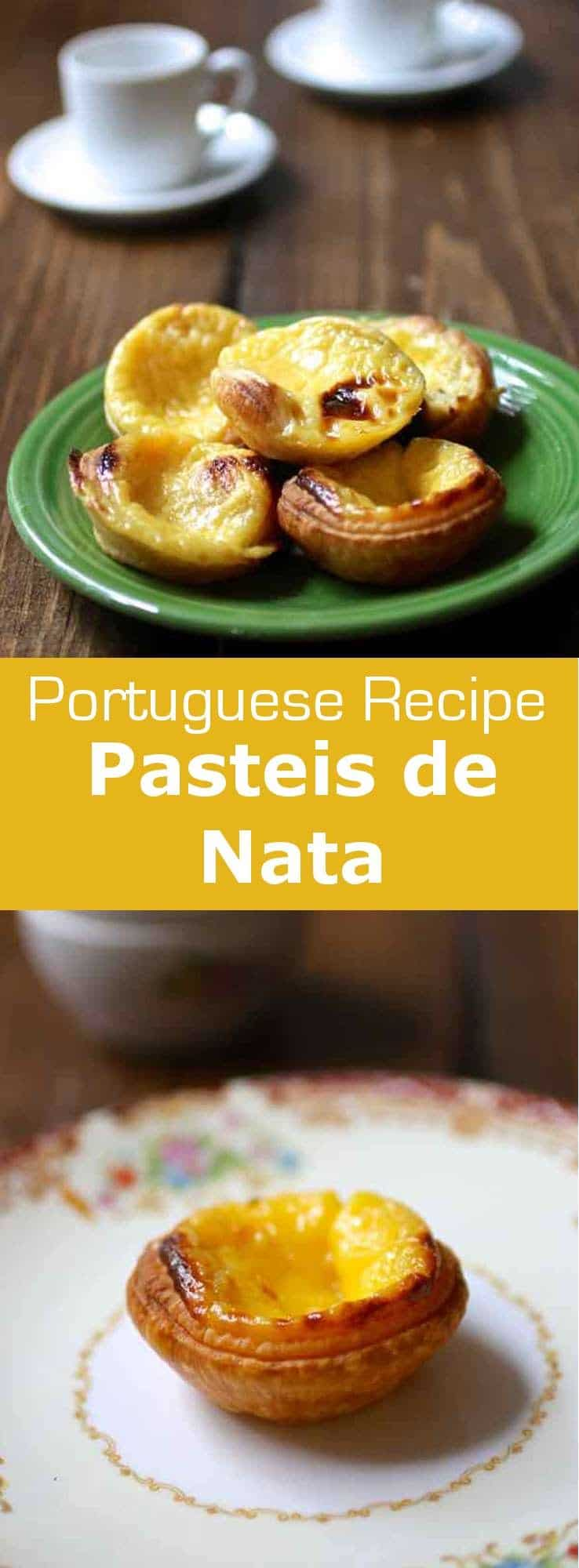 Pasteis de nata (Pasteis de Belem) are deliciously golden custard tarts that are famous all throughout Portugal and Portuguese-speaking countries. #Portugal #pastries #pastry #dessert #196flavors
