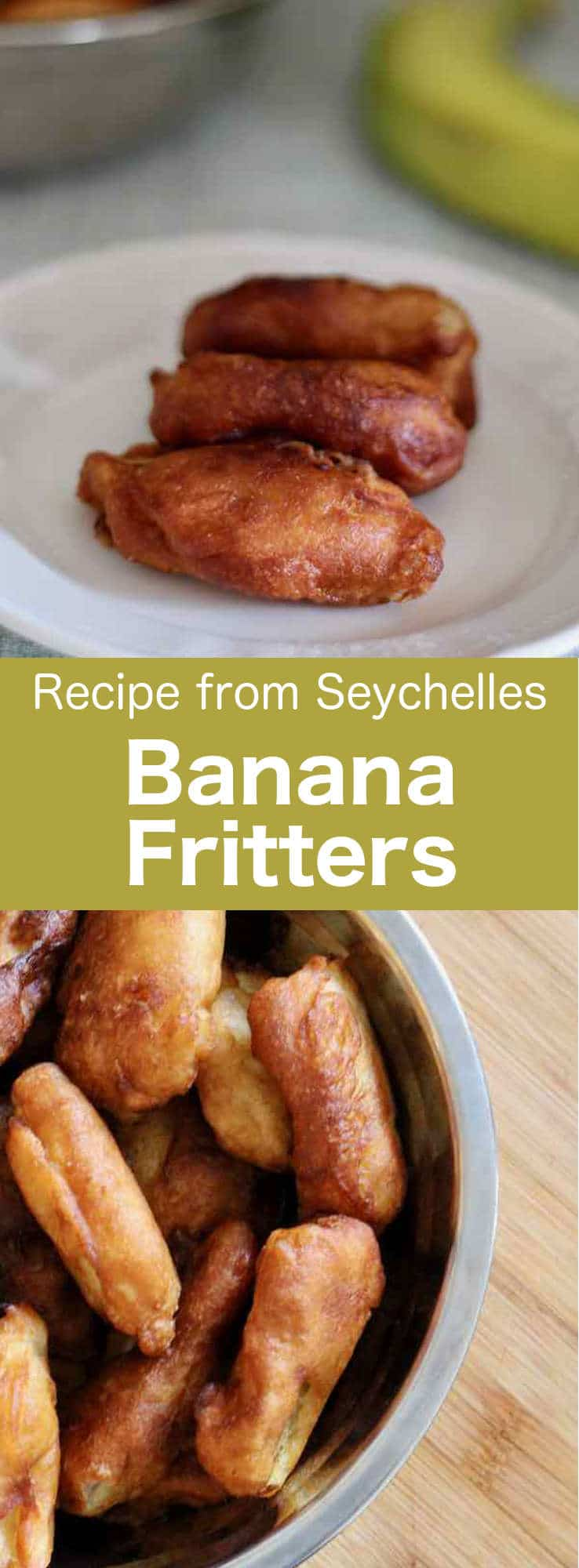 Banana flambé fritters are delicious banana beignets from the Seychelles that are flambéed with rum. #banana #dessert #Seychelles #islandcuisine #196flavors
