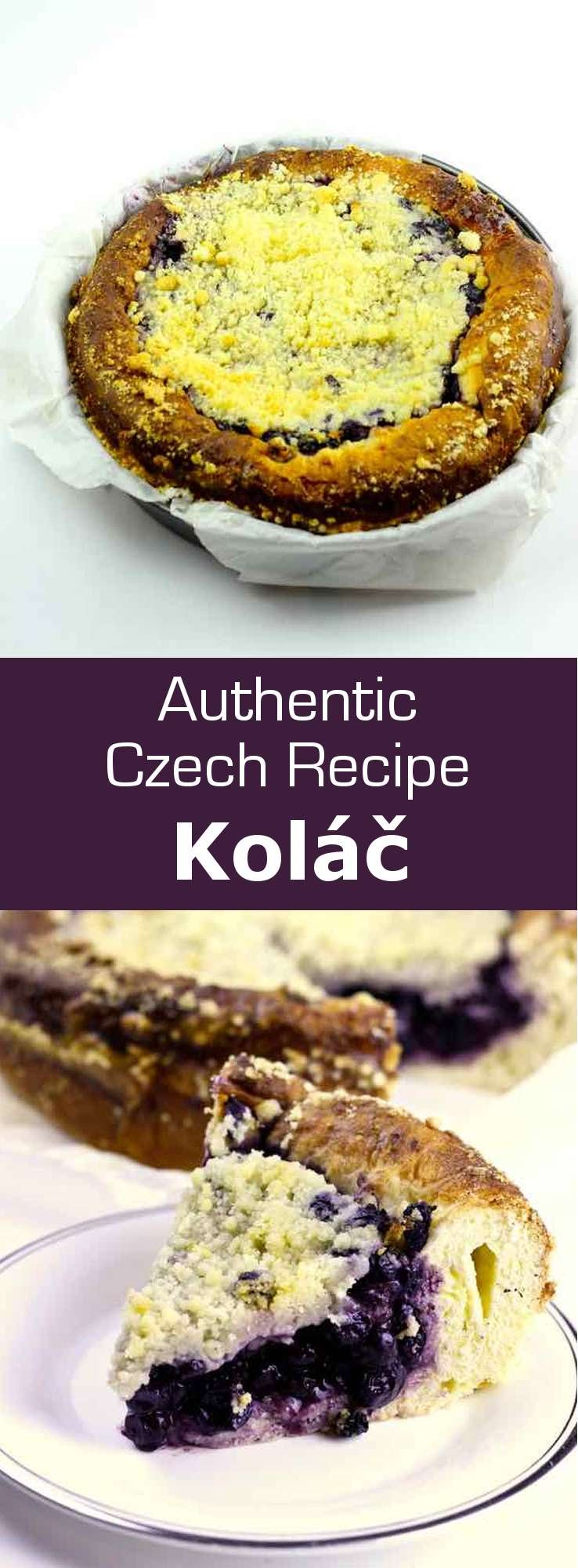 Borůvkový koláč is a version of the popular traditional Czech dessert, kolache, which is more often prepared with poppy seeds, cheese (tvaroh) or jam. #Czech #CzechRepublic #CzechCuisine #CzechRecipe #Cake #CakeRecipe #CzechCake #CzechDessert #WorldCuisine #196flavors