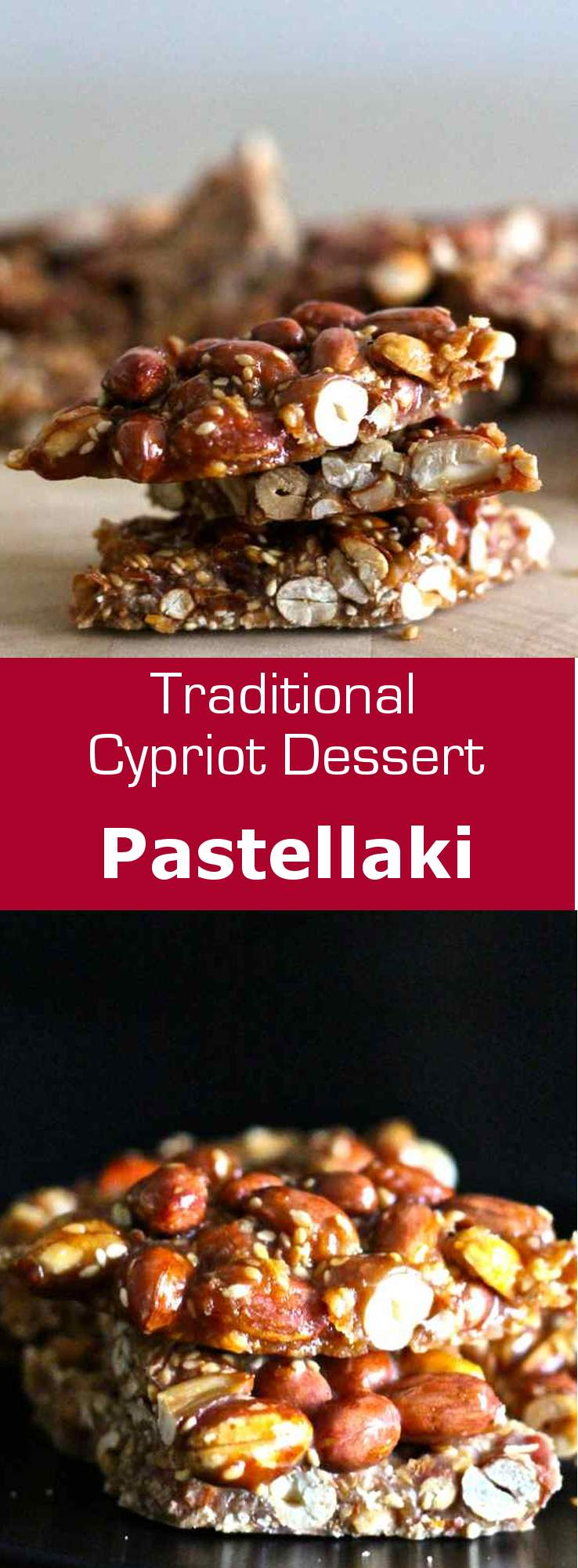 Pastellaki is a traditional sesame seed and peanut candy from Cyprus. #dessert #snack #candy #vegetarian #vegan #glutenfree #cyprus