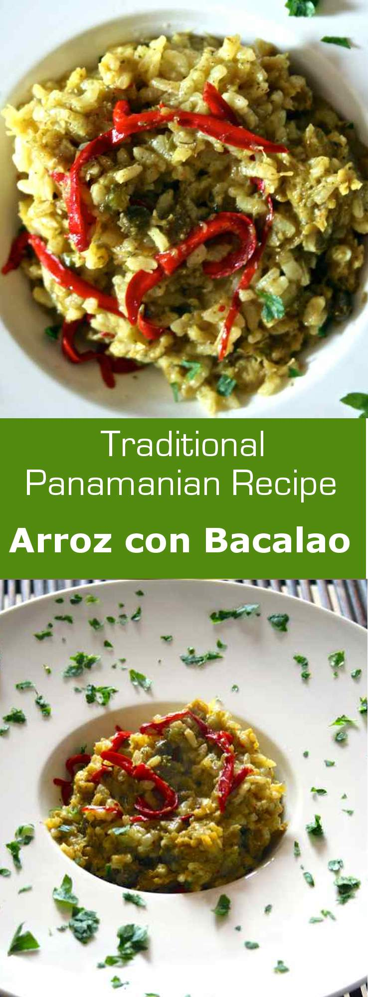 Arroz con bacalao, or rice with salted cod is a delicious one-pot meal popular throughout the Spanish speaking islands, including Panama. #fish #rice #entree #maindish #panama #latincuisine