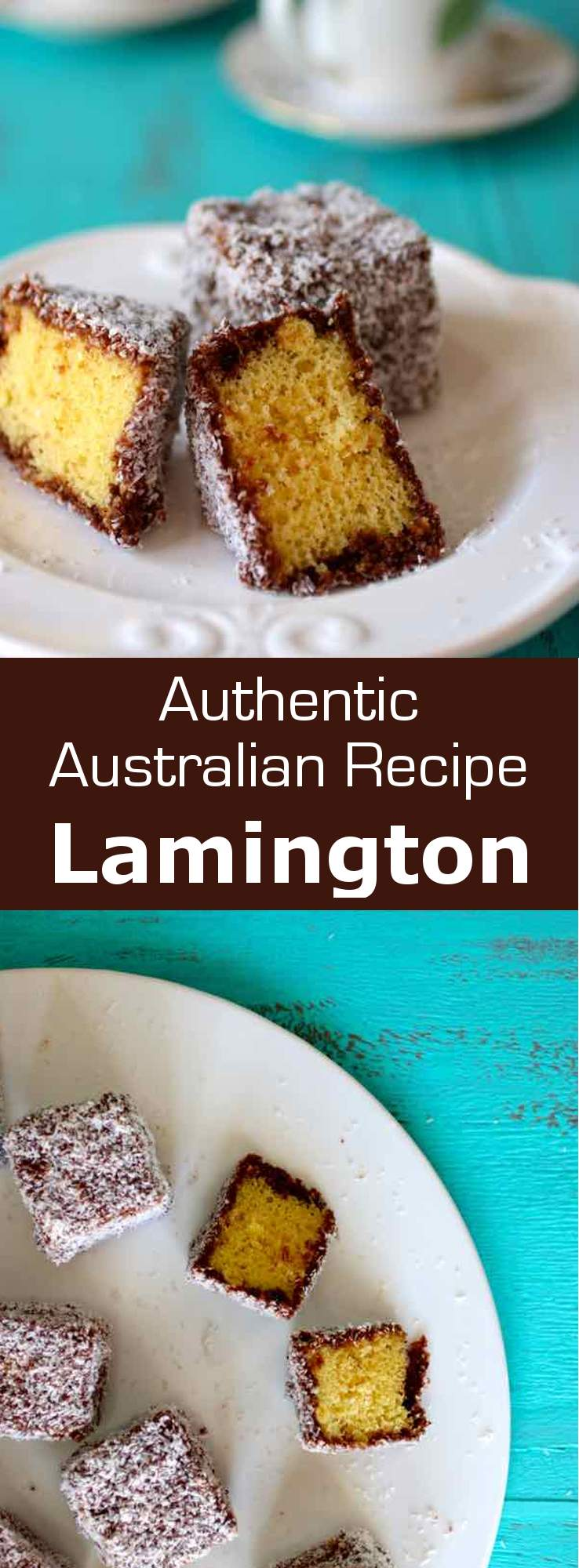 Lamington is an Australian dessert consisting of squares of sponge cake coated in a layer of chocolate sauce, then in shredded coconut. #Australia #196flavors