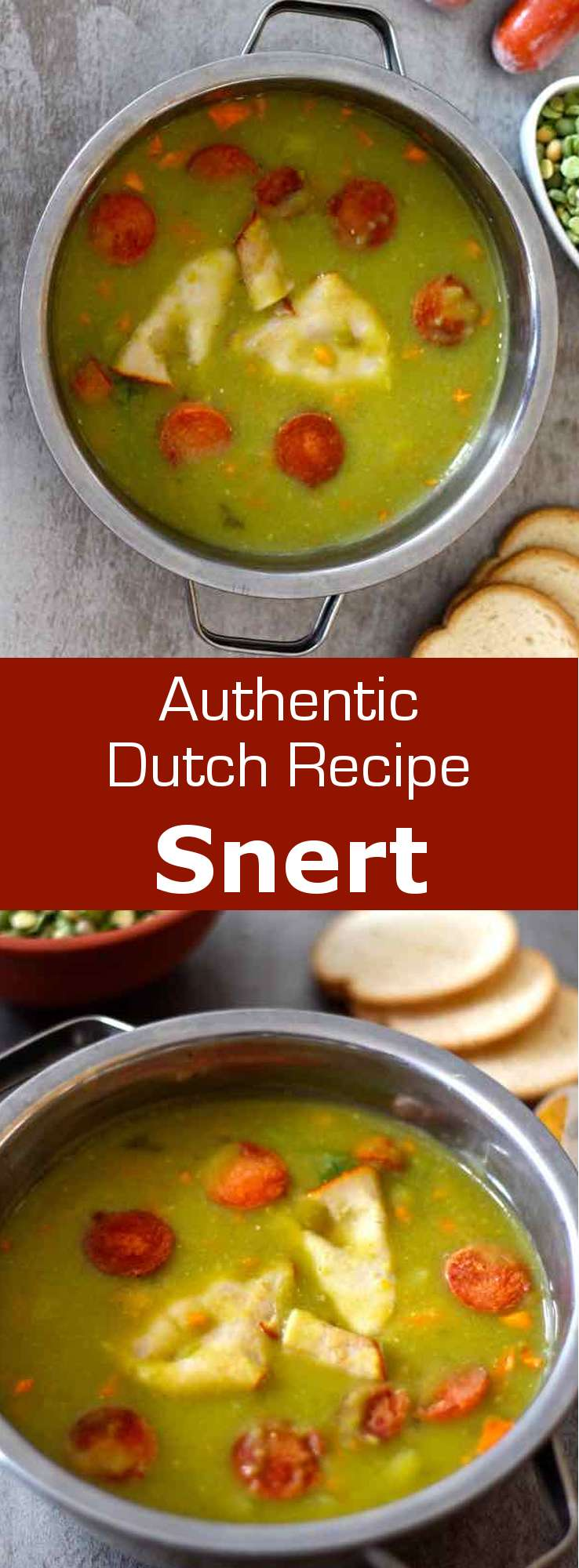Snert (also known as Ertwensoep) is a typical Dutch winter thick soup made with split peas, potatoes, vegetables as well as sausage and bacon. #soup #Dutch #Netherlands #196flavors