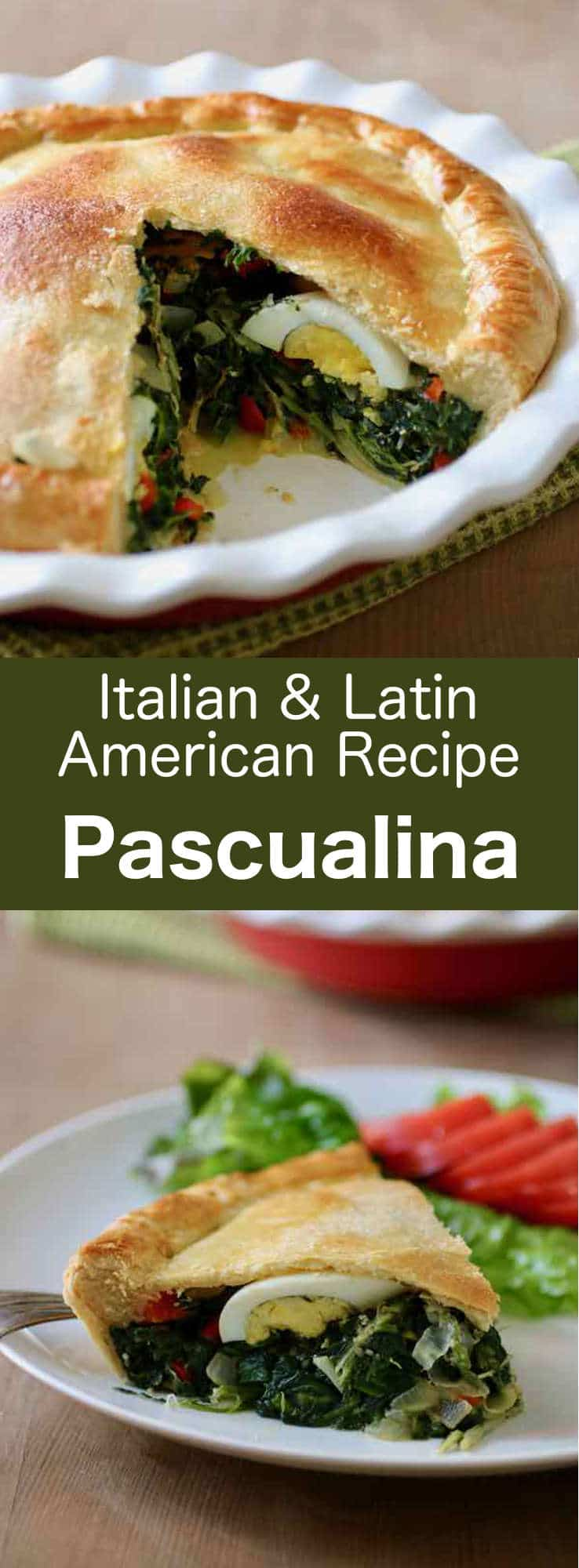 Pascualina is a traditional dish from Uruguay and Argentina composed of a spinach, chard and hard-boiled eggs-filled pastry crust that is typically eaten during Lent. #Uruguay #Italy #Easter #Uruguayan #Italian #UruguayanRecipe #ItalianRecipe #EasterRecipe #UruguayCuisine #ItalianCuisine #Argentina #ArgentinaCuisine #ArgentinaRecipe #Vegetarian #VegetarianCuisine #VegetarianRecipe #WorldCuisine #196flavors