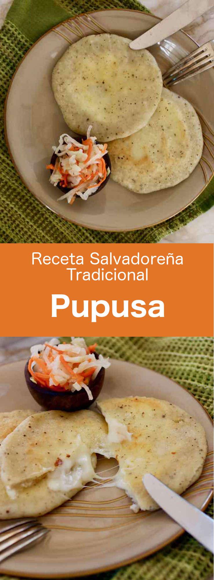 Una pupusa es una tortita de harina de maíz salvadoreña rellena de queso, frijoles refritos o cerdo (chicharrón).