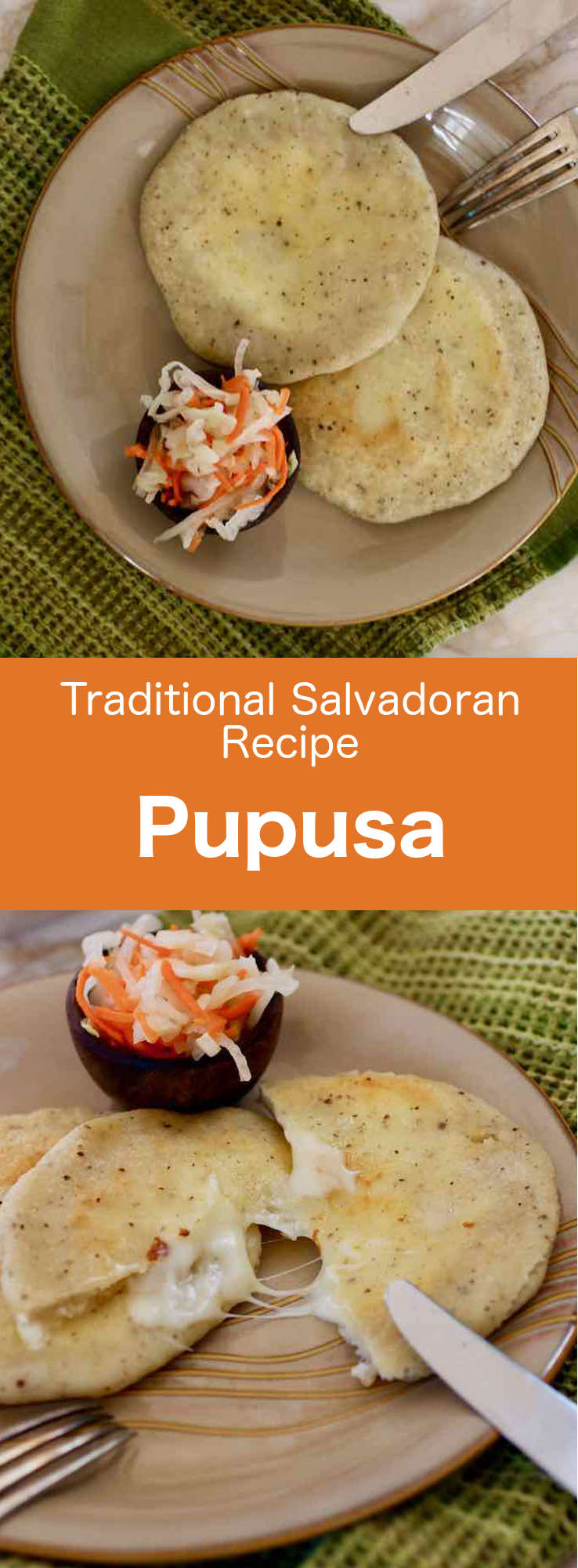 Pupusas are maize flour Salvadorian pancake filled with cheese, refried beans (frijoles refritos) or pork (chicharrón). #ElSalvador #SalvadoranFood #SalvadoranCuisine #SalvadoranRecipe #WorldCuisine #196flavors