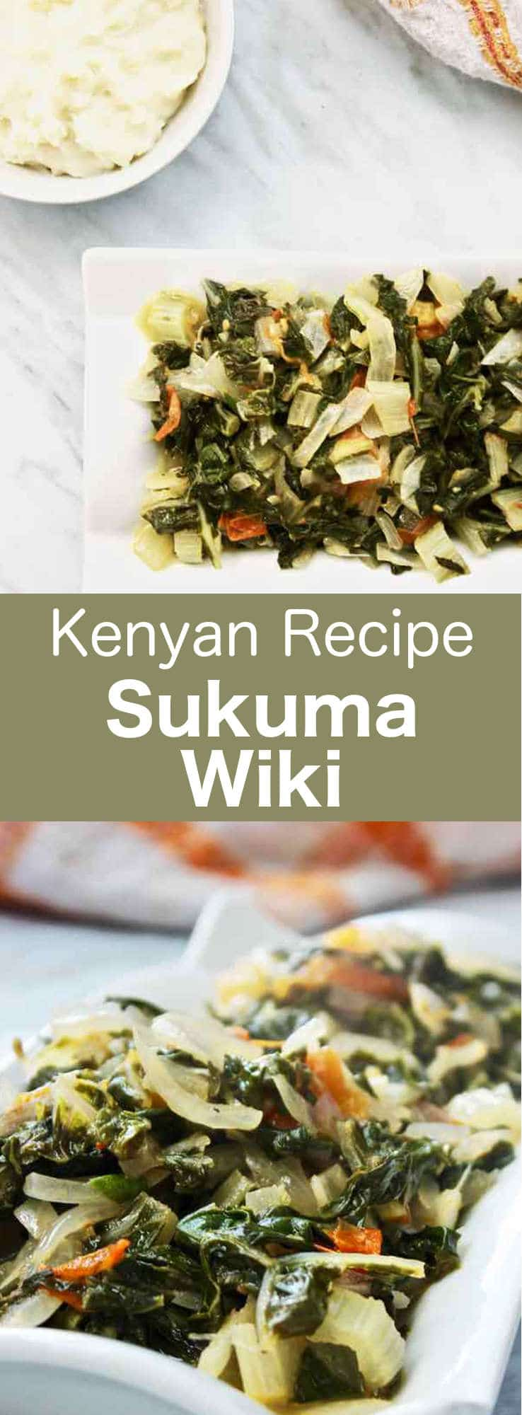 Sukuma wiki is a traditional Kenyan dish that is prepared with collard greens, tomatoes and onions and typically served with ugali. #Kenya #KenyanCuisine #Africa #AfricanCuisine #WorldCuisine #196flavors