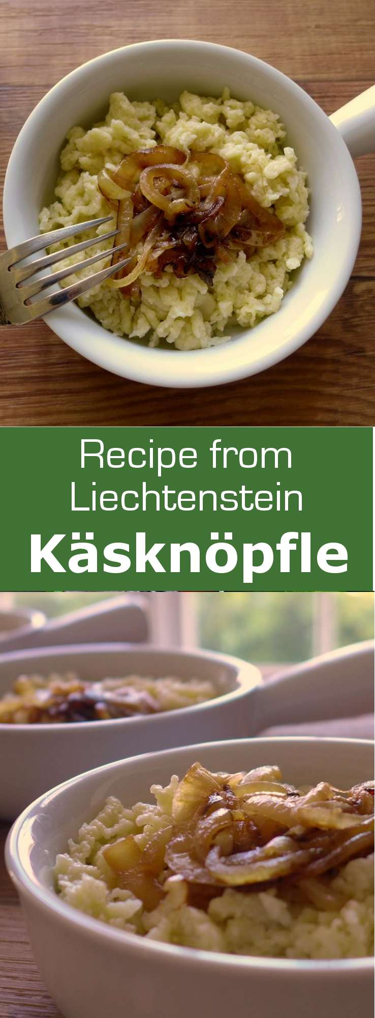 Käsknöpfle are traditional cheese pasta from Liechtenstein. They are a cheese version of the classic German and Austrian spaetzle.