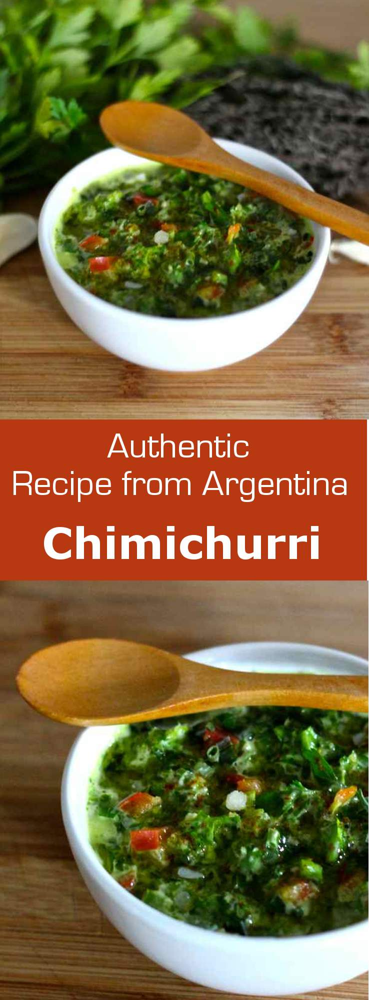 Chimichurri sauce is a classic Argentinian dressing that is typically used on grilled meats. #Argentina #sauce #dressing #condiment #vegetarian #vegan #glutenfree