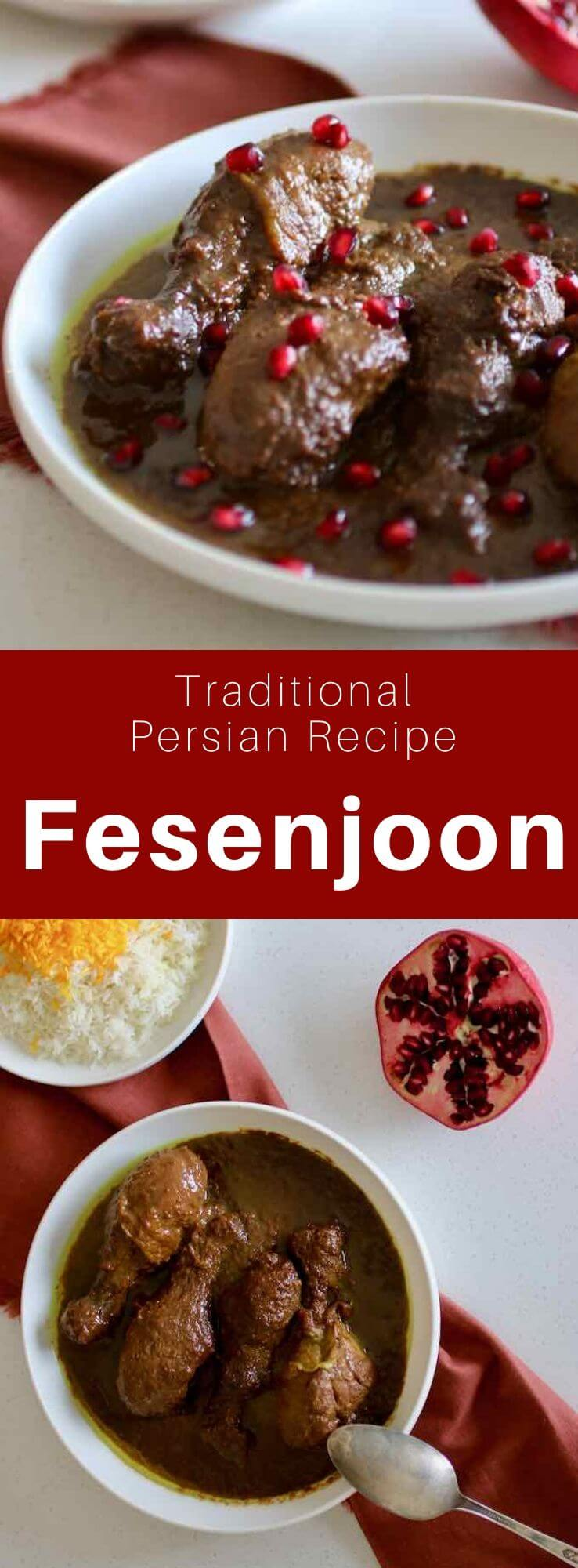 Khoresh-e fesenjān or fesenjoon is a delicious traditional sweet and sour Persian chicken stew made with walnuts and pomegranate. #PersianCuisine #PersianFood #IranianCuisine #IranianFood #WorldCuisine