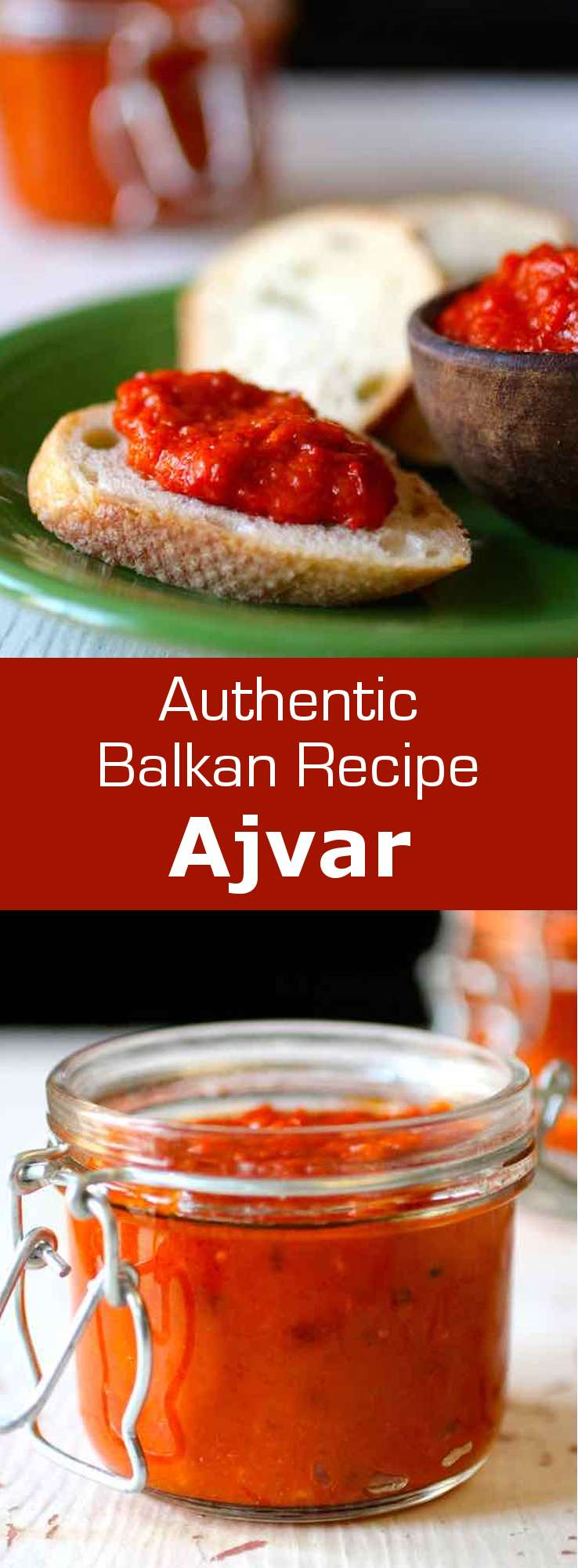 Ajvar is an easy to make and deliciously tangy eggplant and red bell pepper spread that is popular throughout the Balkans. #Balkans #196flavors