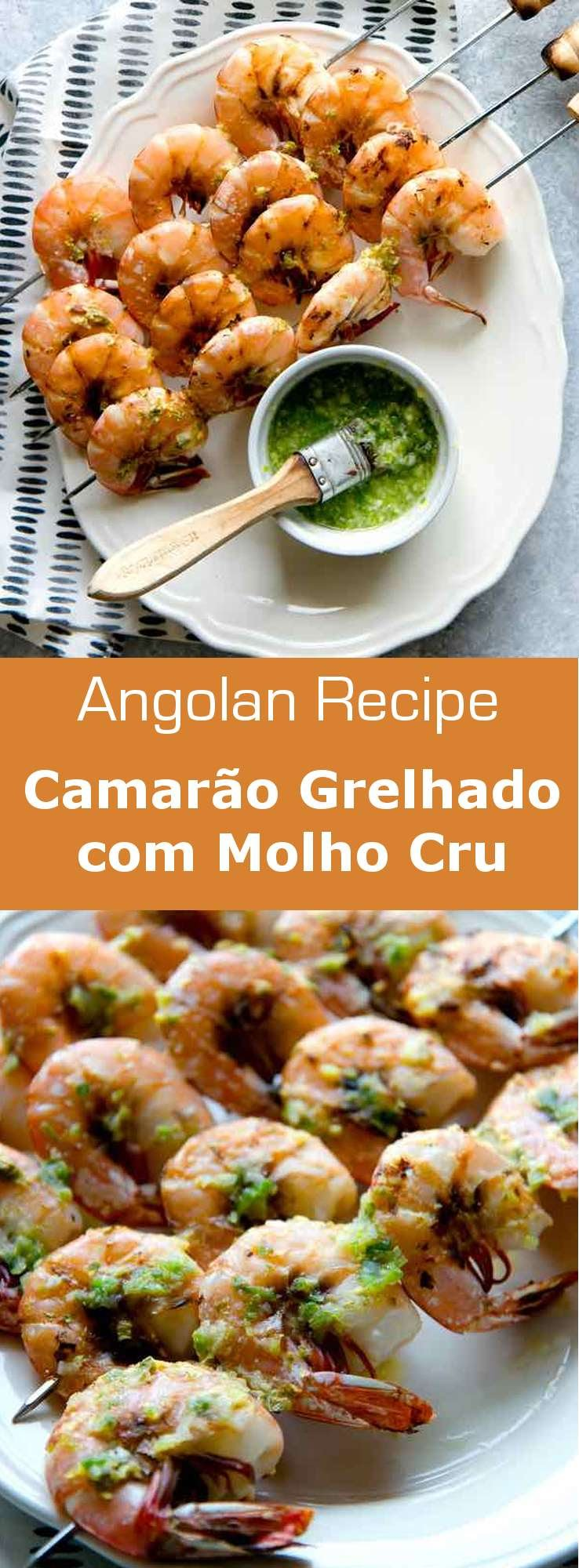 Camarão grelhado com molho cru is a grilled prawn dish from Angola prepared with a delicious marinade of scallions, garlic, cumin, and white wine vinegar. #Angola #AngolanCuisine #WorldCuisine #196flavors