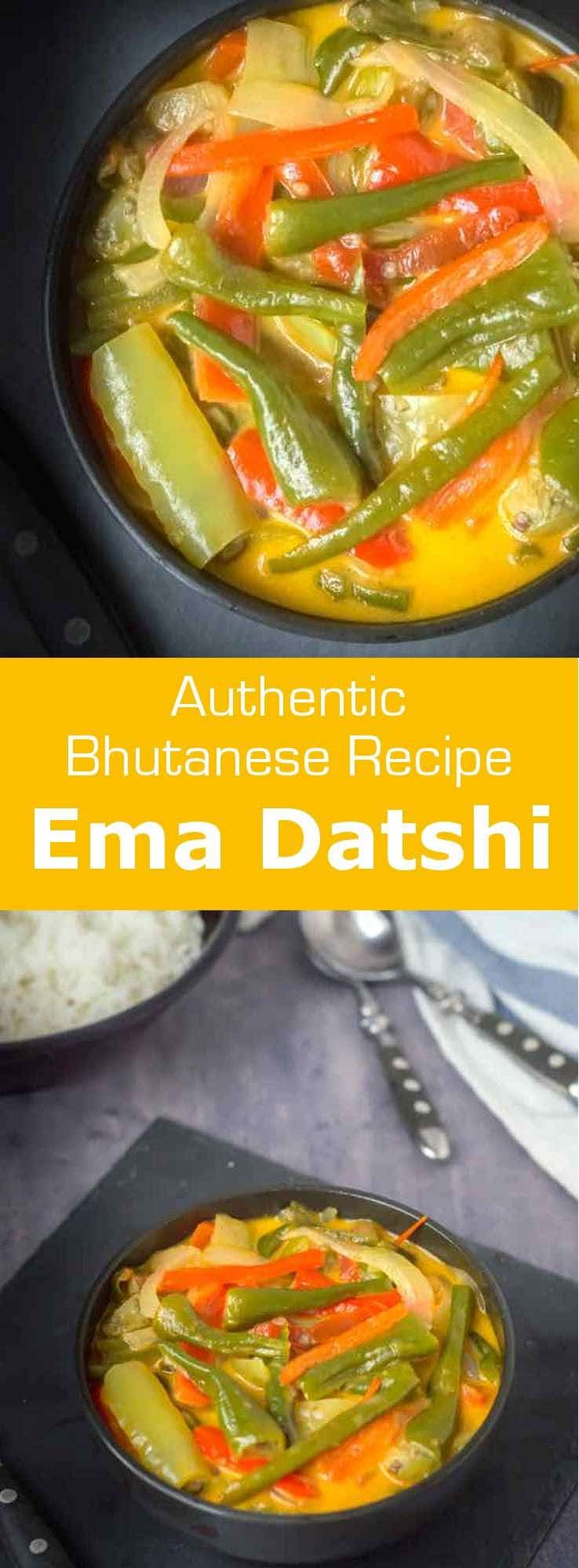 Ema Datshi, the national dish of Bhutan is a deliciously spicy stew made of chili peppers, onions and locally produced yak cheese. #Bhutan #Bhutanese #AsianCuisine #Soup #Vegetarian #WorldCuisine #196flavors