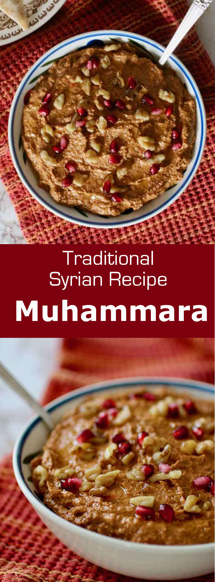 Muhammara is a traditional spicy Syrian dip full of flavors from Aleppo pepper, walnuts, pomegranate and garlic that is typically eaten with flat bread.