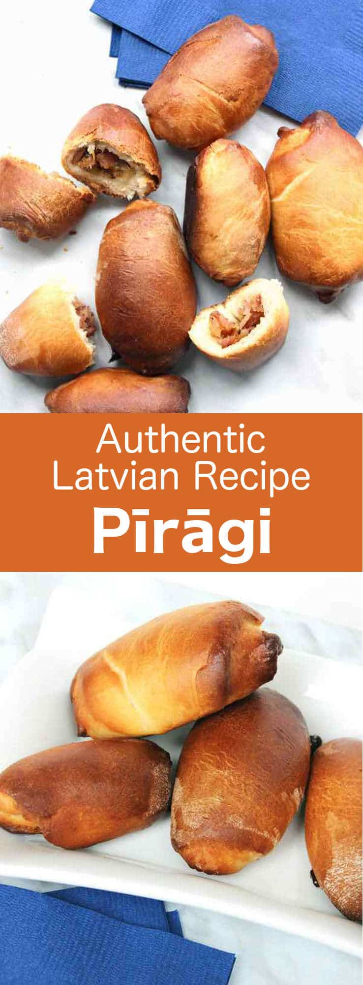 Pīrāgi (or pīrādziņi) are oblong or crescent-shaped Latvian bread rolls that are often filled with chopped bacon and onion. #Latvia #196flavors