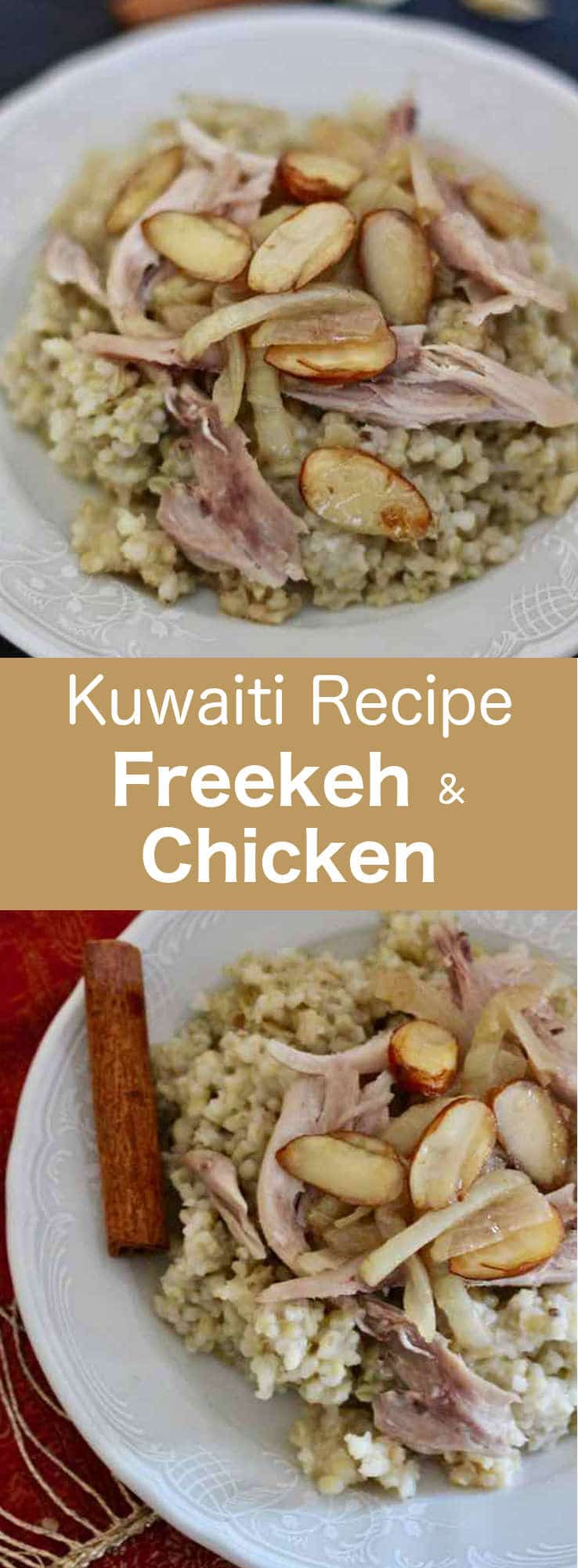 Freekeh with chicken is a traditional recipe common throughout the Middle East and particularly in Kuwait. #Kuwait #MiddleEast #196flavors