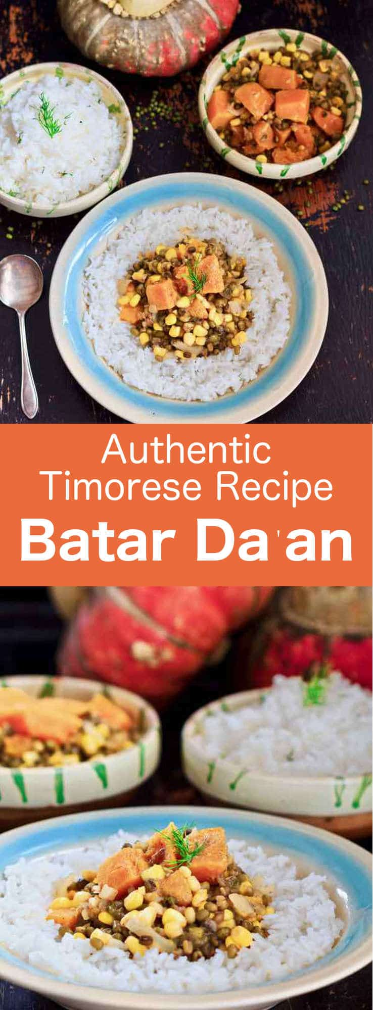 Batar Da'an (boiled corn in Tetum) is a delicious vegan and gluten-free dish prepared with corn and mung beans from East Timor. #Timorese #EastTimor #TimoreseCuisine #vegan #vegetarian #glutenfree #WorldCuisine #196flavors