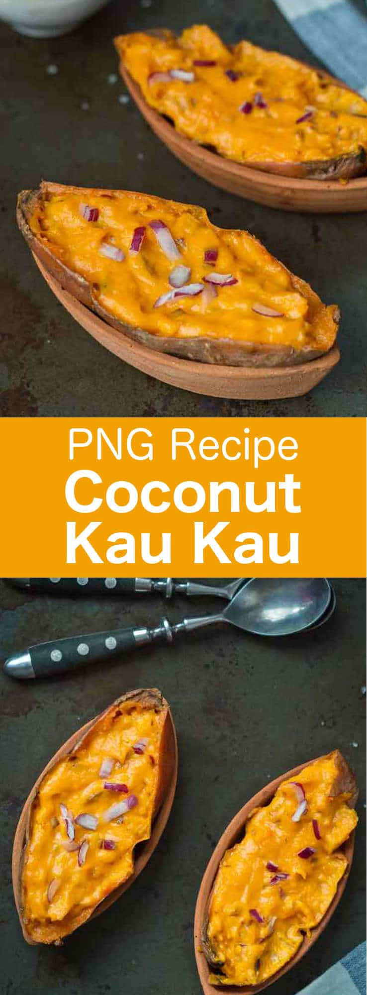 Coconut kau kau is a delicious baked sweet potato recipe with coconut cream from Papua New Guinea. #PNG #PapuanCuisine #PapuanRecipe #PapuaNewGuinea #WorldCuisine #196flavors