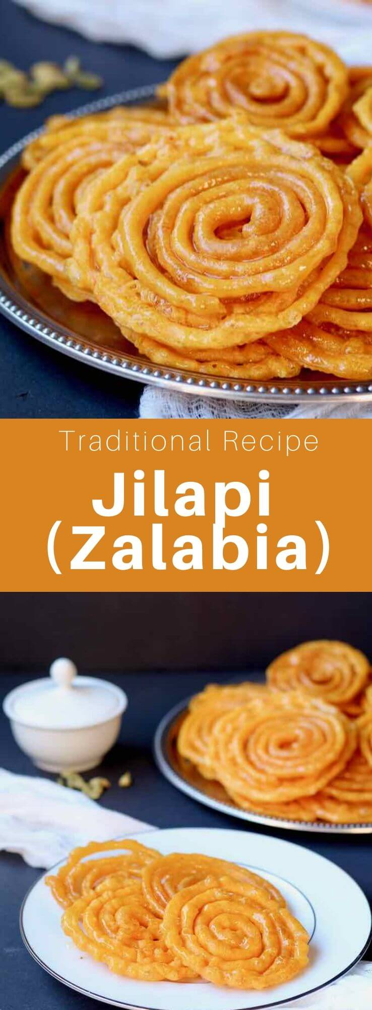 Jilapi is a traditional fried sweet pastry from the Indian continent, that is also popular in the Middle East and North Africa. #India #SriLanka #Bangladesh #Nepal #NorthAfrica #MiddleEast #WorldCuisine #196flavors