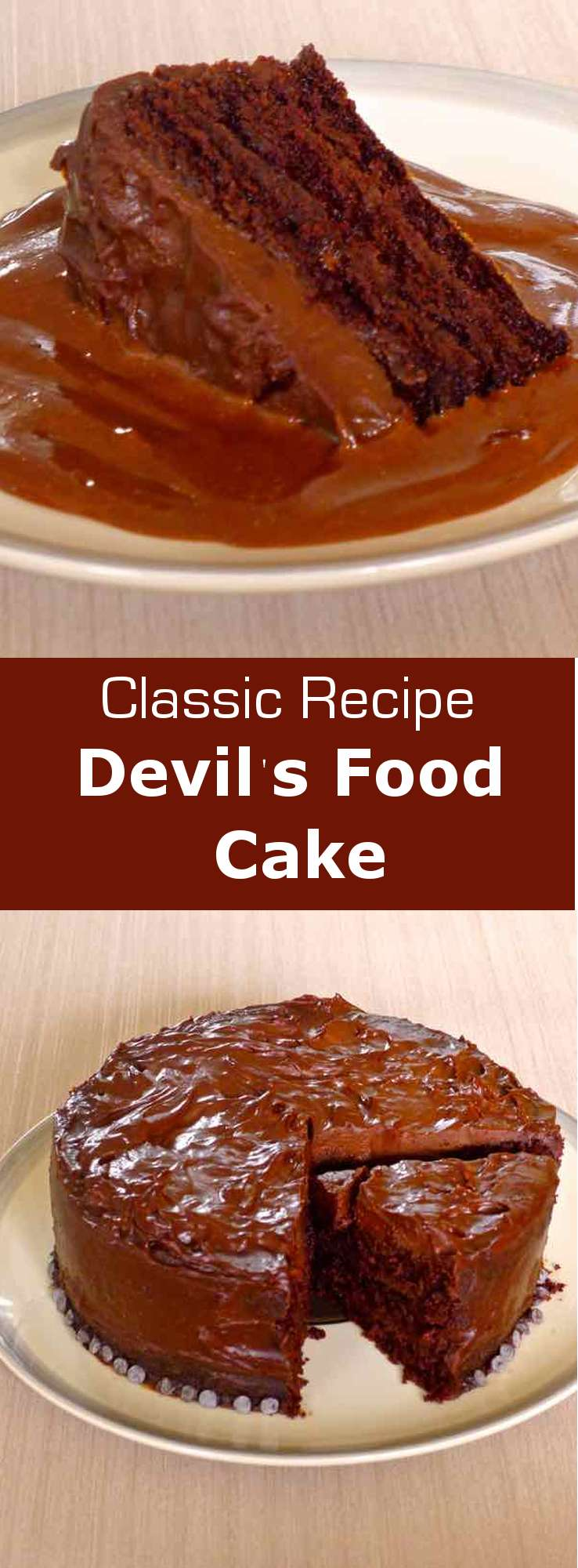 Devil's food Cake probably goes way back and originated from the southern states where it was made ​​from beets and cocoa. #dessert #cake #American #196flavors