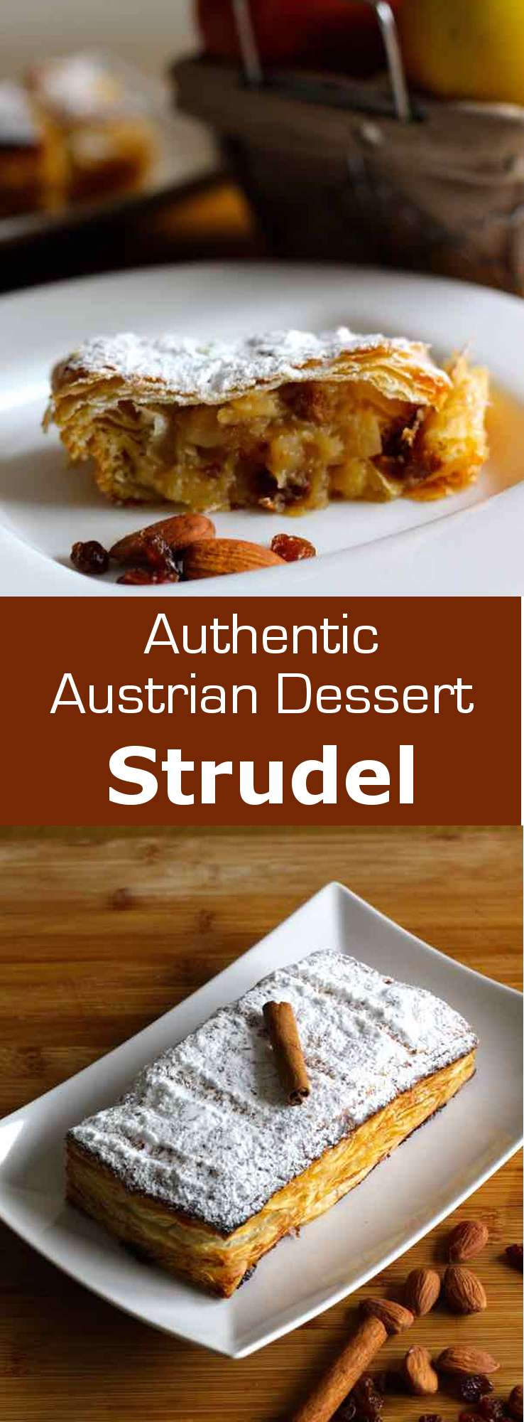 Apfelstrudel is a traditional Viennese pastry prepared with a thin dough that is filled with cooking apples, raisins, sugar, cinnamon, and bread crumbs. #Austria #Austrian #Ashkenazi #196flavors