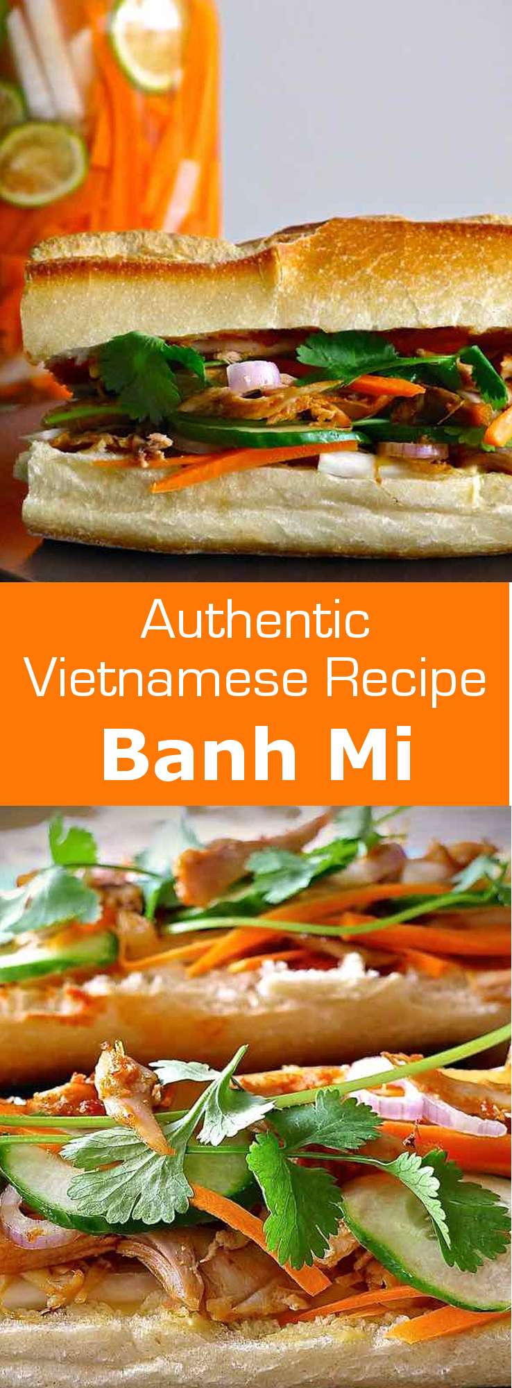 Vietnamese banh mi consists of a loaf of crispy bread, sweet and sour pickled vegetables and roast meat, garnished with fresh cilantro and chili. #Vietnam #sandwich #196flavors