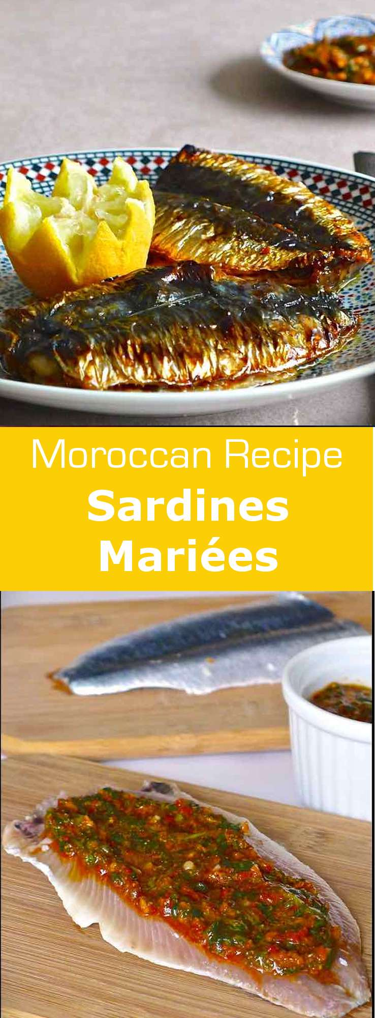 Sardines mariées (married sardines) are stuffed with chermoula, a marinade that is as much part of the Moroccan cooking heritage as couscous. #Morocco #fish #196flavors