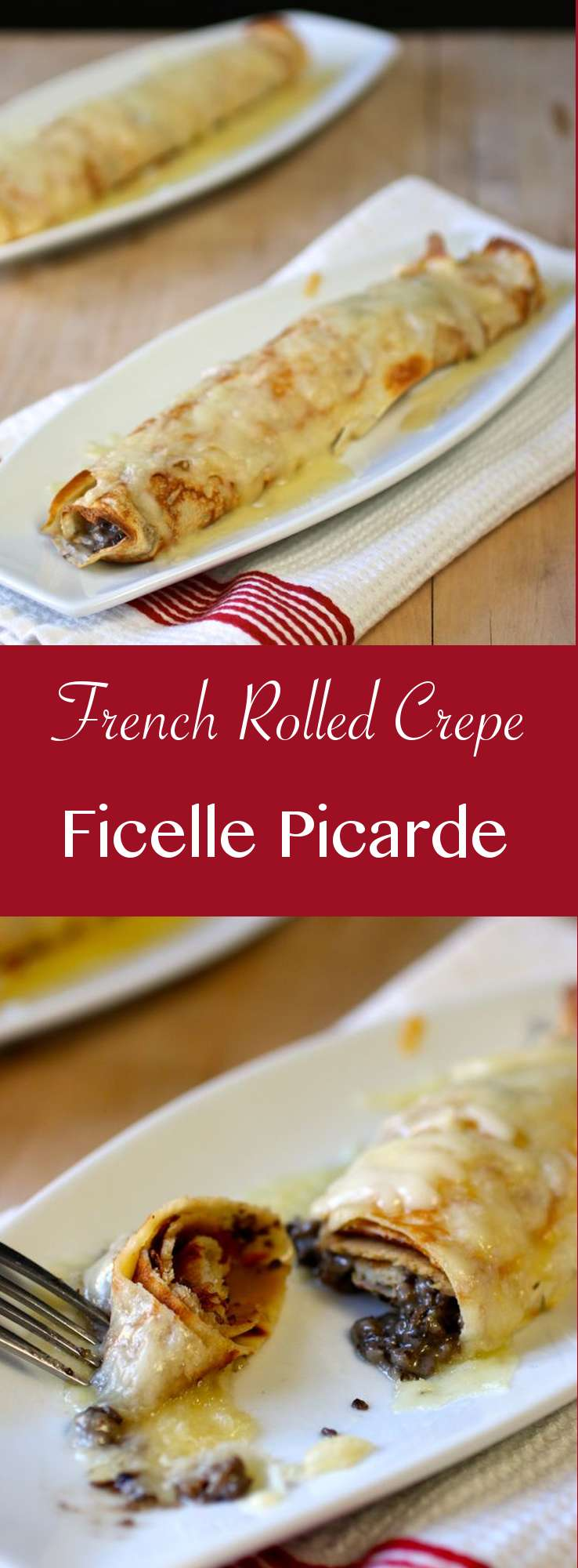 Discover the recipe of traditional ficelle picarde, a mushroom and creme fraiche filled crepe au gratin from the north of France.