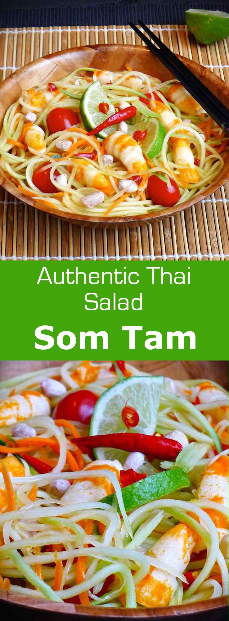 There are several versions of the som tam salad in Thailand including some with fermented fish, pickled crab or with shrimp. #thailand #salad #196flavors