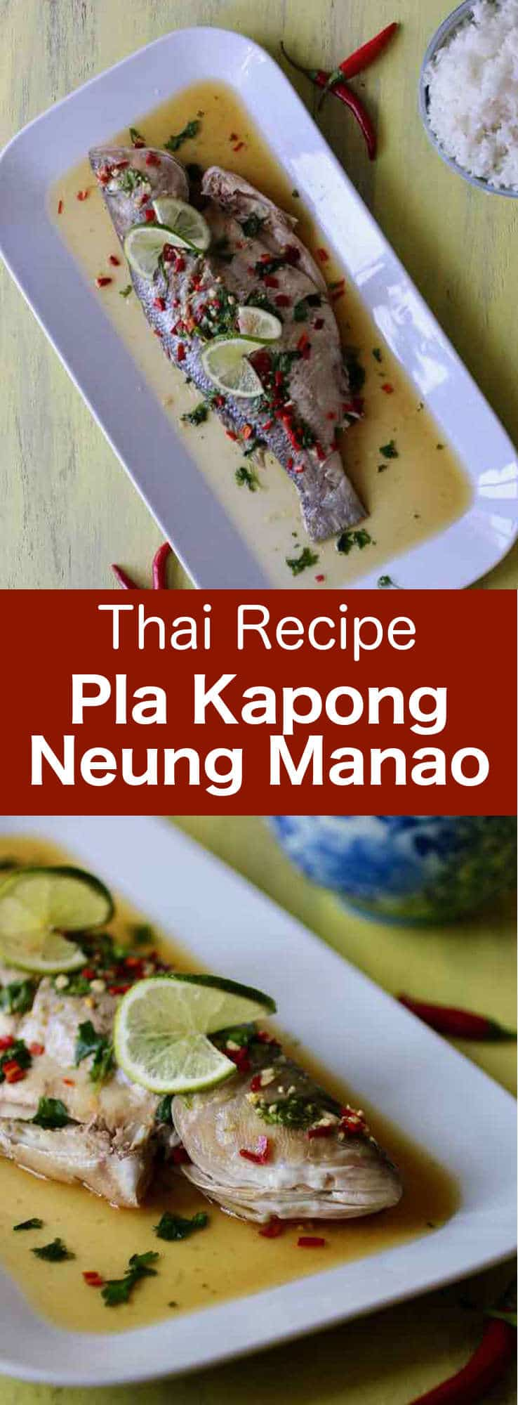 Pla kapong neung manao is a very simple Thai recipe, which consists of delicately steamed fish with a flavorful spicy citrusy sauce. #Thailand #ThaiCuisine #fish #WorldCuisine #196flavors