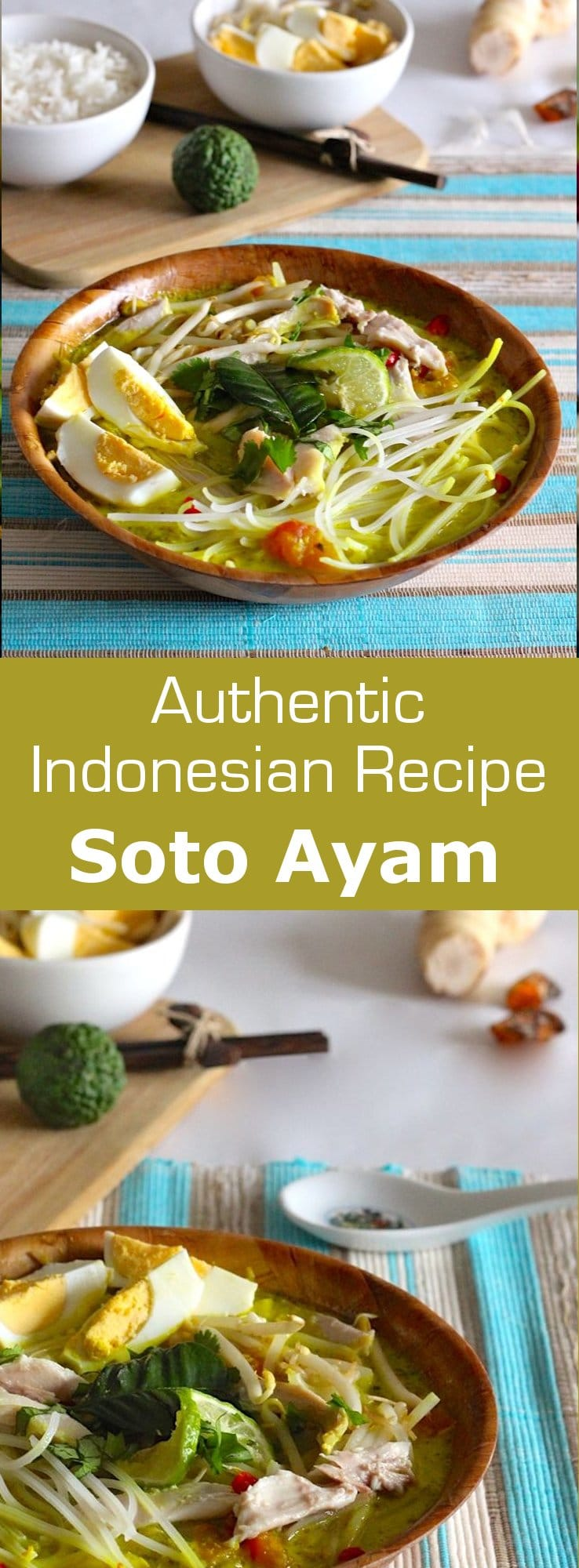 Soto Ayam is a traditional Indonesian chicken noodle soup deliciously flavored, also served in Malaysia, Singapore and Suriname. #soup #asian #196flavors