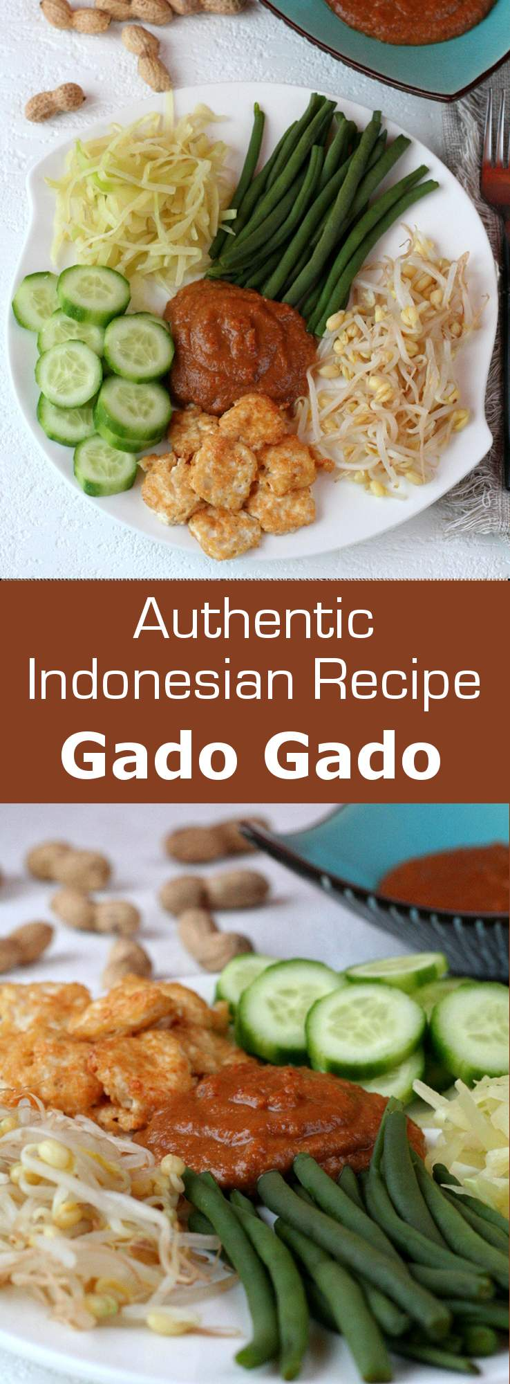 As an authentic and traditional Indonesian vegetarian recipe, gado gado salad is famous for its spicy peanut sauce and fried tofu. #salad #vegan #vegetarian #indonesia #196flavors