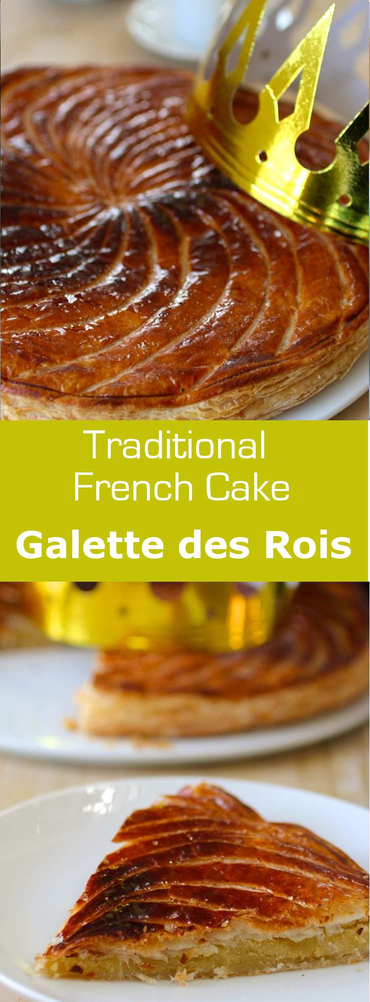 Pithivier is a traditional galette des rois (King Cake) from the Centre region of France. This recipe uses almond paste instead of frangipane. #vegetarian #dessert #france #french