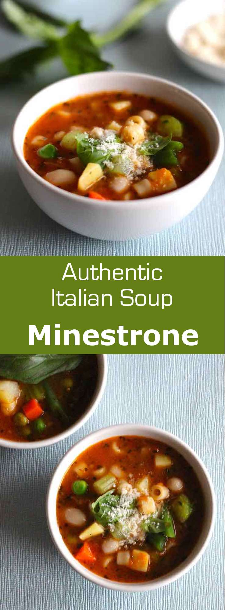 From Italian minestra (soup or to serve), minestrone refers to a preparation of fresh cut seasonal vegetables that are cooked in a broth. #vegetarian #soup #Italian #Italy #196flavors