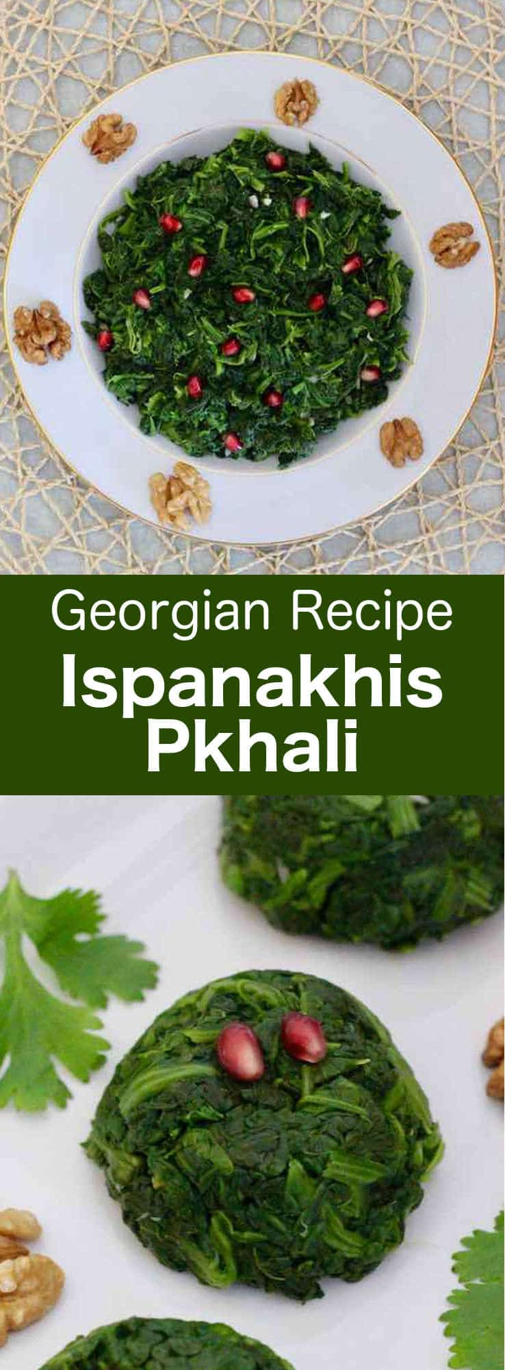 Ispanakhis Pkhali is a delicious traditional vegetarian Georgian specialty prepared with spinach and ground walnuts. #glutenfree #vegan #vegetarian #georgia #196flavors