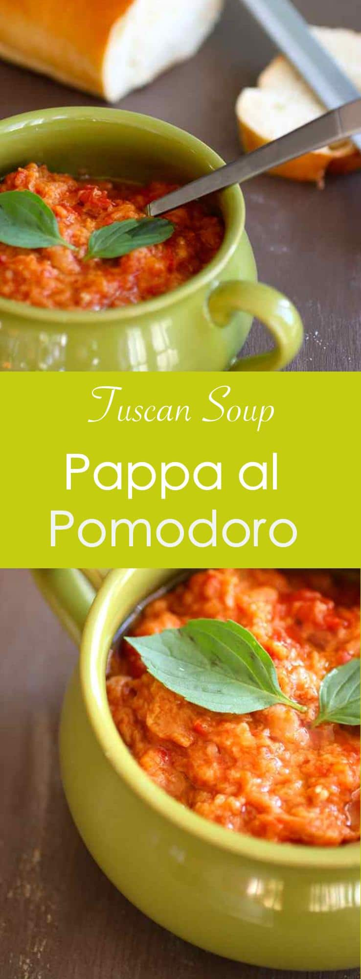 Pappa al pomodoro is a traditional Tuscan thick soup prepared with ripe tomatoes, Tuscan bread and basil.