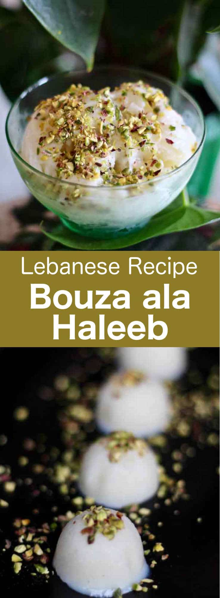 Bouza ala haleeb is a delicious traditional Lebanese ice cream made with salep and mastic and flavored with orange blossom water. #Lebanon #Lebanese #MiddleEast #MiddleEasternDessert #WorldCuisine #196flavors