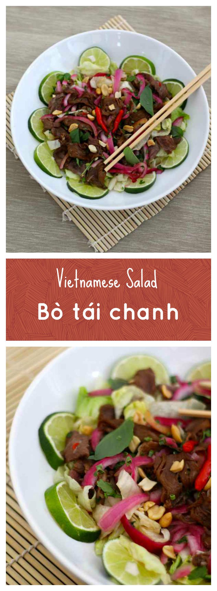 Bò tái chanh is a Vietnamese salad based on beef that is prepared raw or underdone by cooking it in lime juice, and served with other herbs and ingredients.
