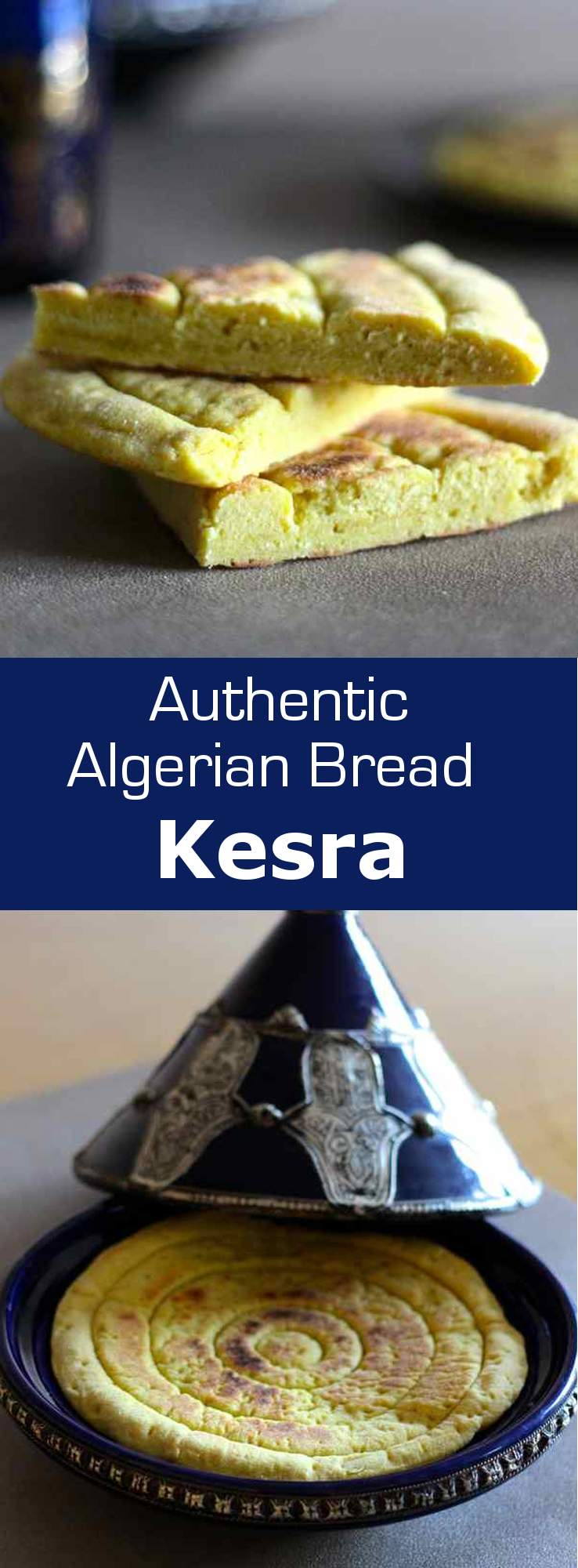 Kesra bread is a traditional flatbread made from Algerian semolina served both in savory and sweet meals. #vegan #vegetarian #bread #algeria #maghreb #northafrica