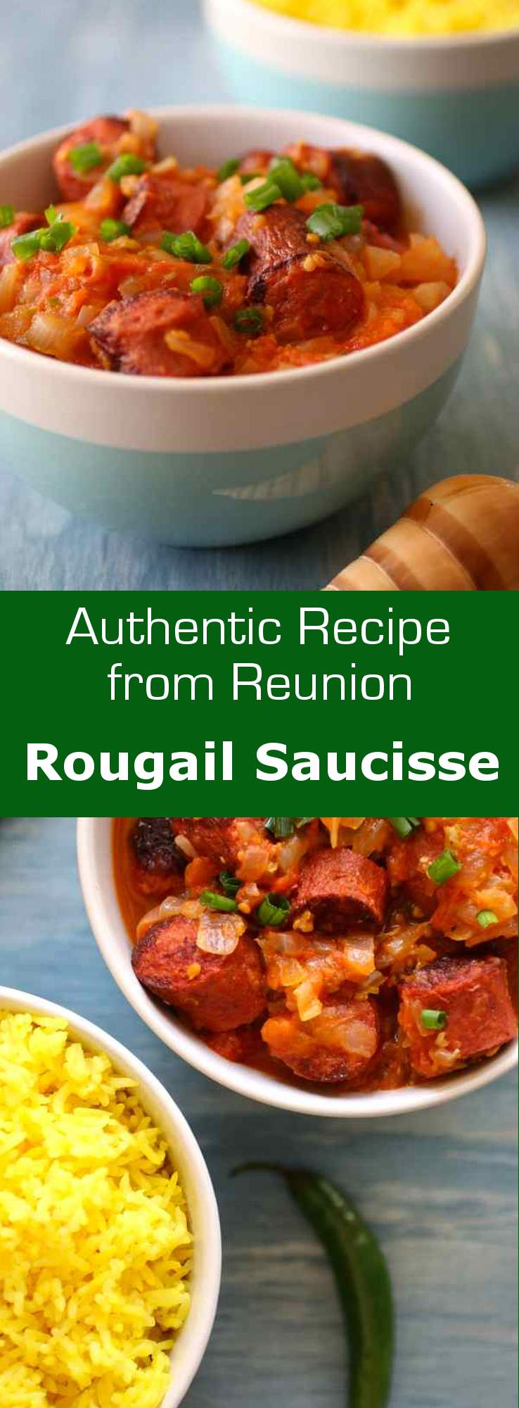Sausage rougail (rougail saucisse) is a traditional tomato and chili pepper-based dish typically served with rice, very popular in Reunion. #creole #reunion