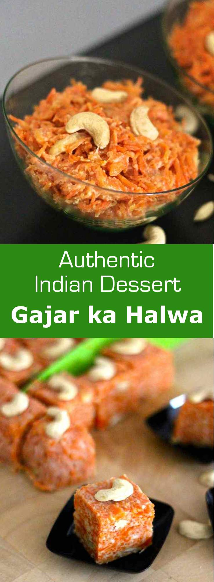 Gajar ka halwa or gajrela is a famous traditional Indian dessert made of carrots, khoya, cardamom and cashew nuts. #dessert #vegetarian #india #196flavors