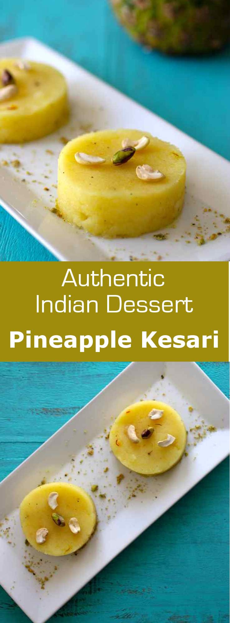 Pineapple kesari is a type of Indian semolina porridge (rava kesari) flavored with cardamom, saffron and pineapple. #vegetarian #glutenfree #dessert #india