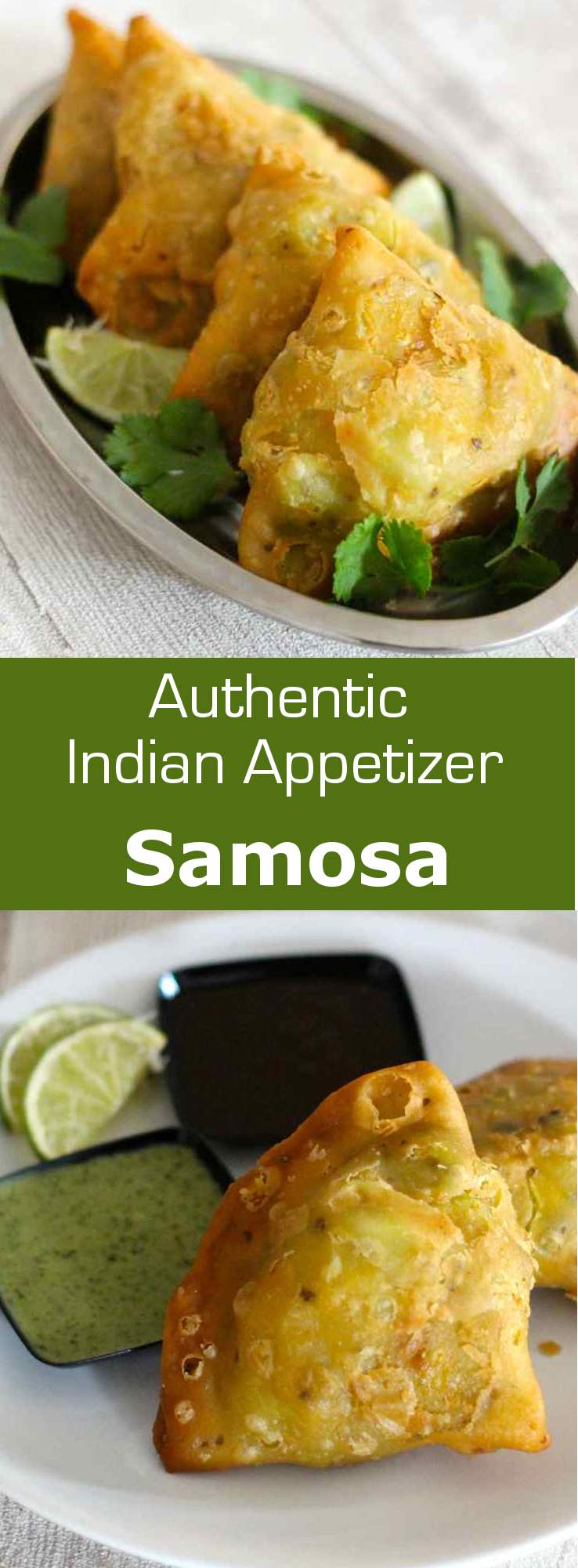 Samosa is a small triangular fried snack from northern India that is traditionally filled with vegetables and spices. #vegetarian #snack #appetizer #india