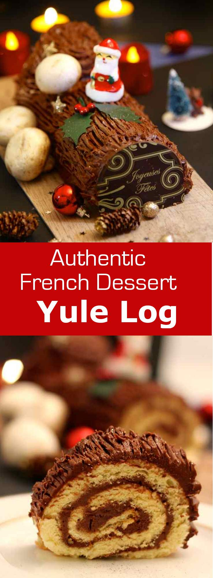 Christmas Yule Log Cake.Chocolate Yule Log Buche De Noel Au Chocolat