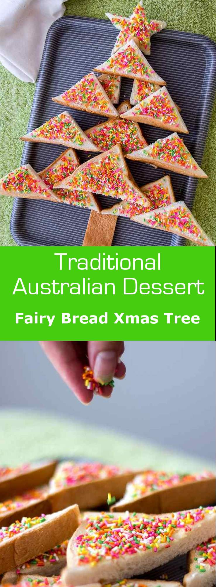 Fairy bread Christmas tree is Australia's favorite Christmas snack for kids and nostalgic adults alike. #christmas #dessert #Australia
