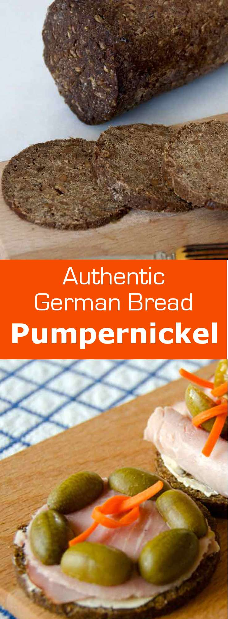 Authentic pumpernickel is a pure rye bread, originally from Westphalia in Germany, made of at least 90% coarsely ground rye flour or wholemeal rye grain. #bread #germany #196flavors